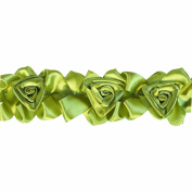Floral Ribbon Gathered 100-Percent Polyester Ribbon, Green
