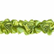 Floral Ribbon Gathered 100-Percent Polyester Ribbon, Green