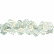 Floral Ribbon Gathered 100-Percent Polyester Ribbon, White
