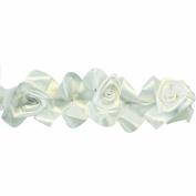 Floral Ribbon Gathered 100-Percent Polyester Ribbon, White