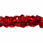 Floral Ribbon Gathered 100-Percent Polyester Ribbon, Red
