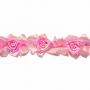 Floral Ribbon Gathered 100-Percent Polyester Ribbon, Pink
