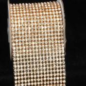 Crystal Diamond Craft Ribbon Trim with Gold Setting 7cm x 1 Yard