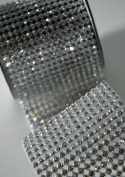 Crystal Diamond Craft Ribbon Trim with Silver Setting 7cm x 1 Yard