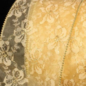 Designer Soft Gold Wired Pearl Edge Lace Craft Ribbon 13cm x 20 Yards