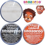 3 Large 18ml Snazaroo Face Painting Compacts 1 BLACK, 1 WHITE and 1 ORANGE