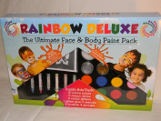 "Rainbow Deluxe Face & Body Paint - Ultimate Professional Water Based Party Pack for Kids and Adults - Kit Include Non Toxic Stencils, Glitter, Crayons and More - Free ""How To.."" Guide with Templates, Exclusive Colouring Chart and 2 Year Guarantee"