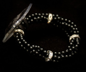 Wristlet -Black Pearl Rhinestone Lauren Midnight - Corsage Bracelet One Size