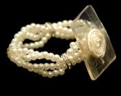 Wristlet - Lauren Champagne Cream Pearl Rhinestone - Corsage Bracelet One Size
