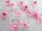 12pc Floral Arrangement 2.5cm Sheer Organza Wire Glitter Butterfly with Jewels
