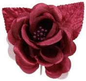 Burgundy Satin Roses with Leaves - Package of 12
