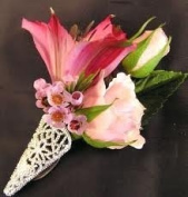 Silver Filigree Boutonniere / Corsage Decorative Holders