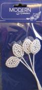 Modern Romance White Faux Pearl Leaves w Stems