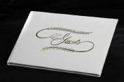 Simplistic White Guest Register Book with Gold Embossed Lettering