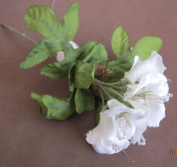 Wedding Collection Craft Fabric Flowers & Leaves on Wire Stem - 7 Flowers w Bead Stamens
