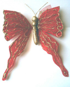 Red Glittered Butterfly Clip