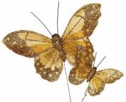 Artificial Elegant Gold Glitter Butterflies - Package of 12