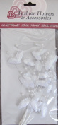 B. B. Fashion Flowers Craft PACK of 3 IRIDESCENT SPRAYS Spray w LEAVES & Faux PEARLS on WIRE STEMS Colour WHITE