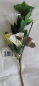Craftime Craft ARTIFICIAL Fabric FLOWERS & LEAVES w Faux BIRD 5.1cm Long on ADJUSTABLE BRANCHES & STEMS 25cm Long