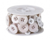 Button Wire - White Buttons with Silver Wire - One spool per pack