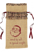 Burlap Santa Stencil Wine Bag with Fabric Ruffles 33cm x 17cm
