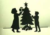 Stencil Christmas Tree Family
