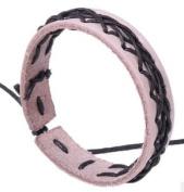 Men or Women cross strand KHAKI Leather fashion Bracelet Wirstband Cool & Stylish