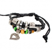 Beautiful Multi Layer Heart Shape with Bead braided Leather Bracelet Wirstband Cool .
