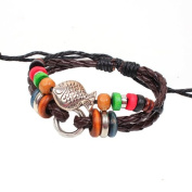 Beautiful Vintage Style Dark Brown Fish with Bead braided Leather Bracelet Wirstband Cool .