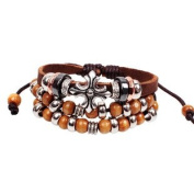 Beautiful Bohemian Vintage Style Brown Bead Leather Bracelet Wirstband Cool & Stylish