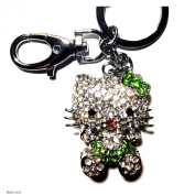Beautiful 3D Green Sit Hello Kitty Cat Figure New Fashion Rhinestone Crystal Keychain Purse Clipper Chain Gift