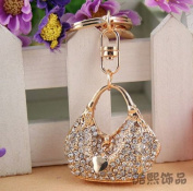 Beautiful 3D Luxury Fashion Hand Bag Purse Rhinestone Crystal Keychain Purse Clipper Chain Gift Comes with Retro Style Wooden Charm