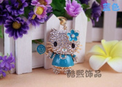 Beautiful 3D Luxury BLUE Hello Kitty With Candy Bar Figure New Fashion Rhinestone Crystal Keychain Purse Clipper Chain Gift Comes with 1 Retro Wooden Textured Charm