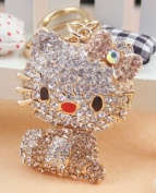 Beautiful 3D Luxury GOLD Hello Kitty With Cute Boot Figure New Fashion Rhinestone Crystal Keychain Purse Clipper Chain Gift