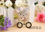 Beautiful 3D Luxury GOLD Hello Kitty On BIKE Figure New Fashion Rhinestone Crystal Keychain Purse Clipper Chain Gift