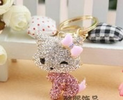 Beautiful 3D Luxury PINK Hello Kitty With Bow Figure New Fashion Rhinestone Crystal Keychain Purse Clipper Chain Gift Comes with 1 Retro Wooden Textured Charm