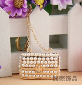 Beautiful 3D Luxury PEARL fashion Purse Keychain Purse Clipper Chain Gift Comes with Retro Style Wooden Charm