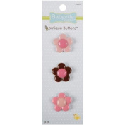 Babyville Boutique Buttons, Flowers, 3 Count