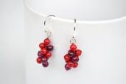 Grape Red Jasper Silver Earring Gem Stone Handmade by Flower GemStone