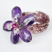 Amethyst Gem Stone Ring Free Size 100% Handmade by Flower GemStone