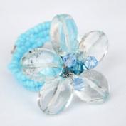 Blue Topaz Gem Stone Ring Free Size 100% Handmade by Flower GemStone