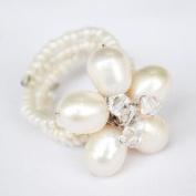 Pearl Gem Stone Ring Free Size 100% Handmade by Flower GemStone