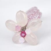 Rose Quartz Gem Stone Ring Free Size 100% Handmade by Flower GemStone