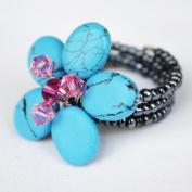 Turquoise Gem Stone Ring Free Size 100% Handmade by Flower GemStone