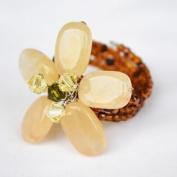 Yellow Jade Gem Stone Ring Free Size 100% Handmade by Flower GemStone