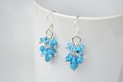 Turquoise Silver Earring Gem Stone Handmade by Flower GemStone