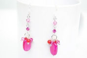 Quartz Ruby Coloured Long Drop Shape Silver Earring Gem Stone Handmade by Flower GemStone