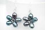 Black Pearl Flower Shape Silver Earring Gem Stone Handmade by Flower GemStone