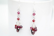 Garnet Long Drop Shape Silver Earring Gem Stone Handmade by Flower GemStone