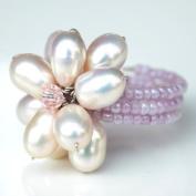 Pink Pearl Flower Gemstone Ring by Flower GemStone